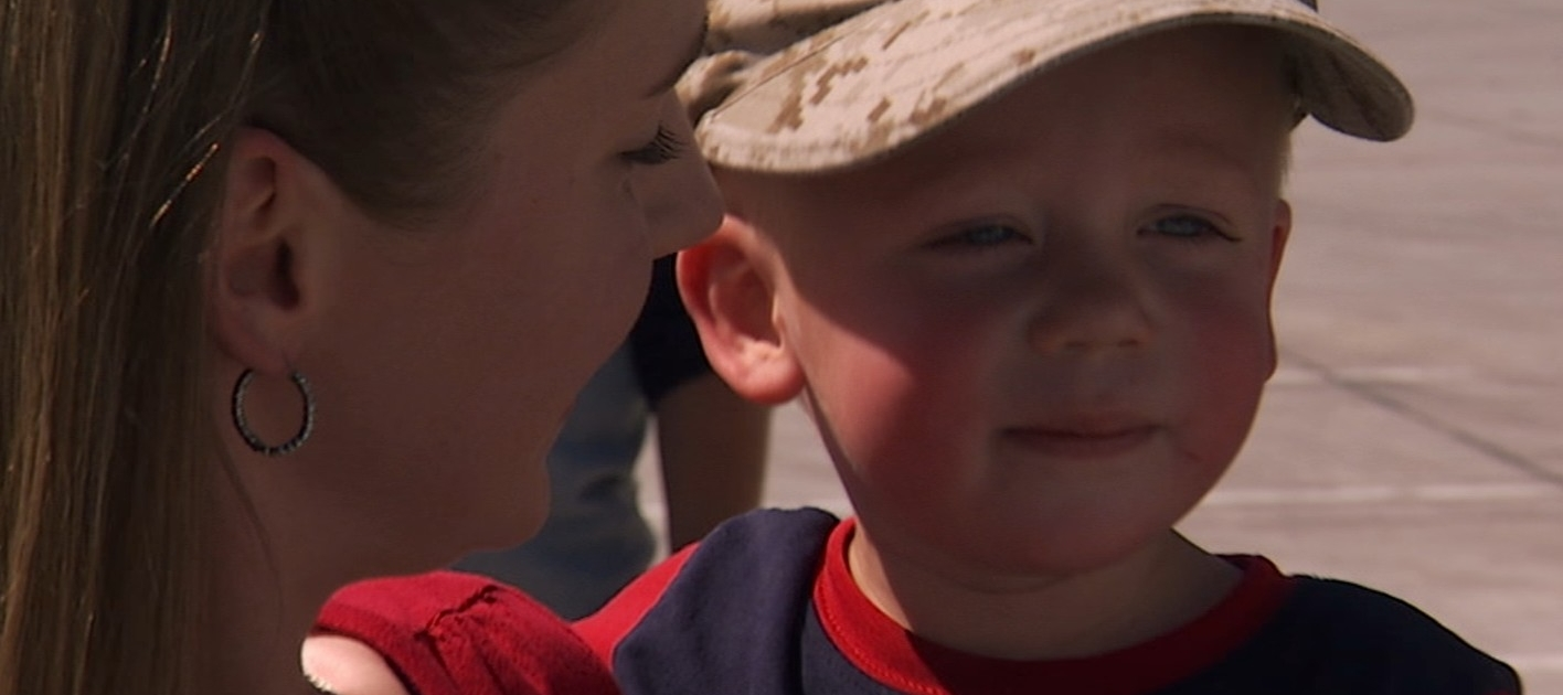 Marine Spouse and toddler bye at deployment