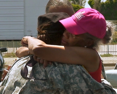 Army hug before deployment