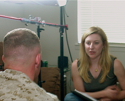 Director Elena Miliaresis conducting interviee